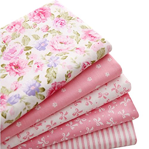 """5pcs/lot 15.7""""x19.7"""" Pink 100% Cotton Fabric For Sewing Quilting Patchwork Tissue"""