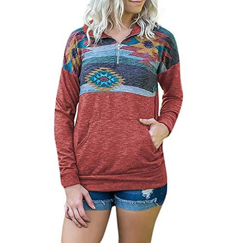 ❀❀ Tops Tasche T Elegante Liquidazione con Stampa Pullover Maniche Rosso Camicetta Camicette Vendita Camicie Casual Lunghe Shirt di Donne Felpa Autunno Cerniera ArARq