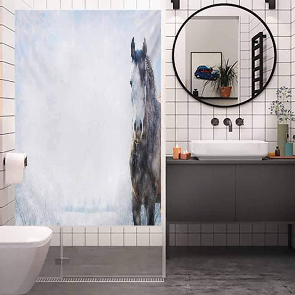 Pegatina de privacidad para decoración de baño, diseño de caballo gris en el paisaje de invierno con nevadas, película de vidrio para el baño y la reunión de baño, ancho 17.7 x alto 78.7 pulgadas