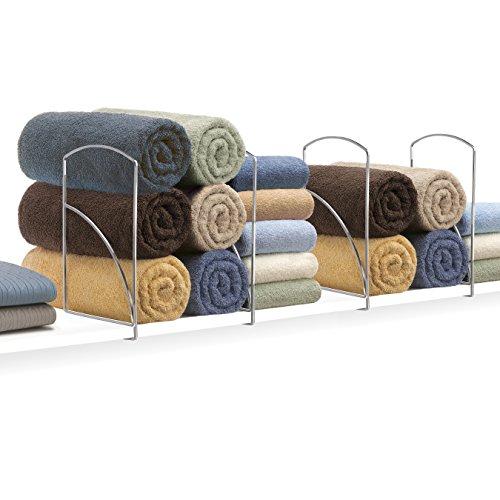 Towels And Linens - Lynk Tall Shelf Dividers - Closet Shelf Organizer (Set of 2) - Chrome