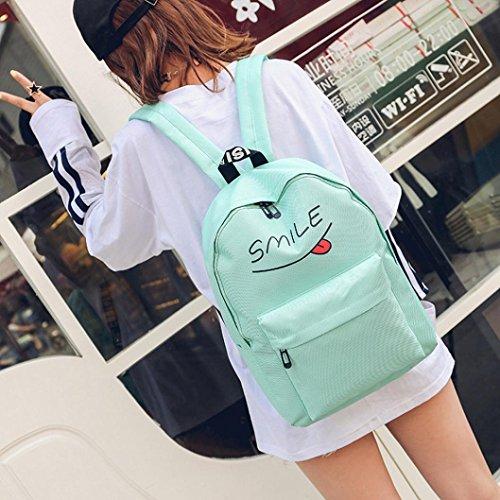 BZLine® 3 Sets Frauen Mädchen Reise Rucksack Schule Tasche Tasche Handtasche Grün H5jpPcdV