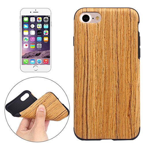 Teakwood Color - WANDAELITE Simple Business Pure Color for iPhone 7 Teak Wood Grain Paste Skin Soft TPU Protective Case New Mobile Phone Ultra-Thin Soft All-Inclusive ant (SKU : IP7G8000D)