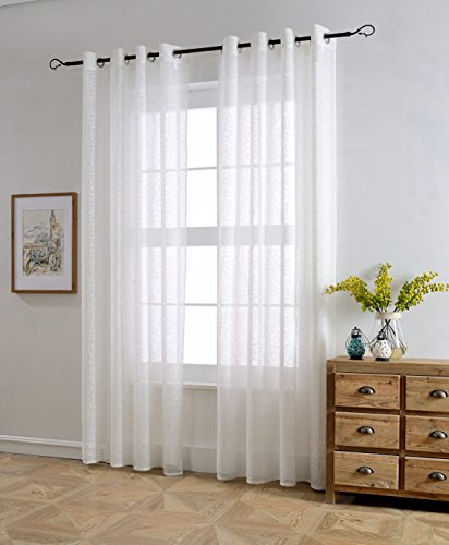 white living room curtains. MYSKY HOME Top Grommet Window Embroidery Voile Embroidered Sheer Curtain  Panel for Living Room White 53 W x 95 L 1 Curtains Amazon com