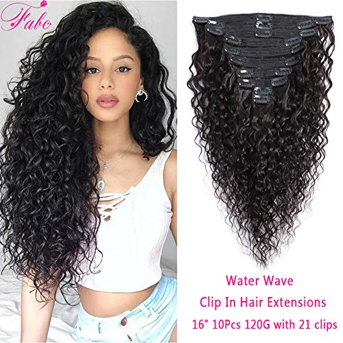 Water Wave Curly Clip In Hair Extensions 8A Brazilian Virgin Remy Hair Water Wave Hair Clip Ins For Black Women Natural Black Color Double Weft 10Pcs/Set 120 Gram (16 Inch,Water Wave) ()