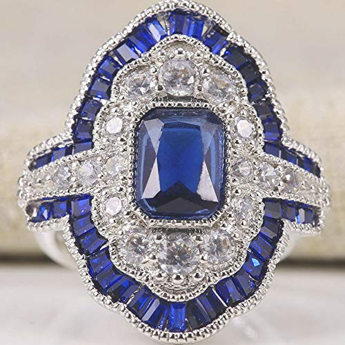 - Tomikko 925 Silver Blue Sapphire Women Fashion Jewelry Wedding Gift Party Ring Size 6-10 | Model RNG - 12869 | 9