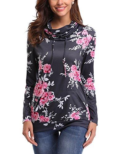 iClosam Women Sweatshirt Casual Cowl Neck Floral Print Long Sleeve Drawstring Tunic Tops