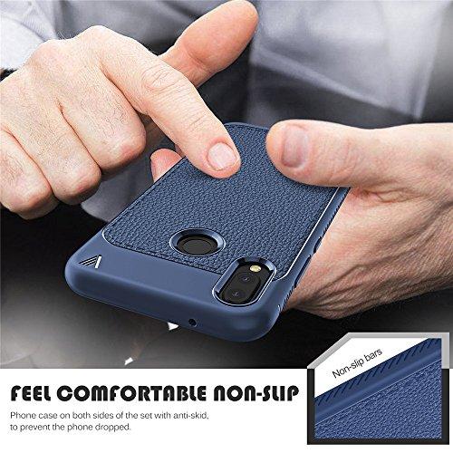 Huawei P20 Lite Funda, Moonmini Ultra Delgado Suave Flexible TPU Silicona Goma Inastillable Resistente a arañazos Antideslizante PU Cureo Leather Back Cover Carcasa Bumper Shell para Huawei P20 Lite D Azul oscuro