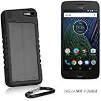 Motorola Moto G5 Plus Battery, BoxWave [Solar Rejuva PowerPack (5000mAh)] Solar Powered Backup Power Bank for Motorola Moto G5 Plus - Jet Black