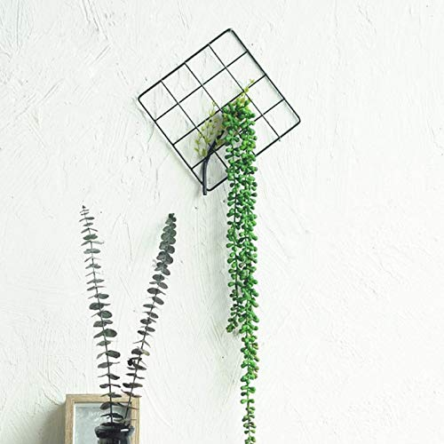VHLL Nordic Style Wall Decoration Living Room Bedroom Wall Pendant Green Plant Iron Grid ins Home Decoration