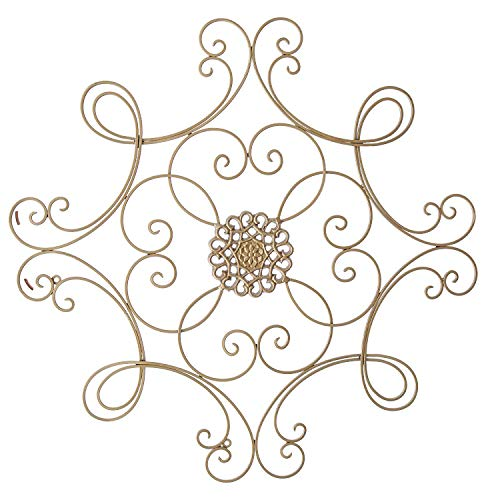CT DISCOUNT STORE Square Scrolled Metal Wall Medallion with Elegant Look, Perfect Decor for Every Home -