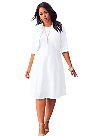 Roamans Women\'s Plus Size Fit-and-Flare Jacket Dress - White, 14 W