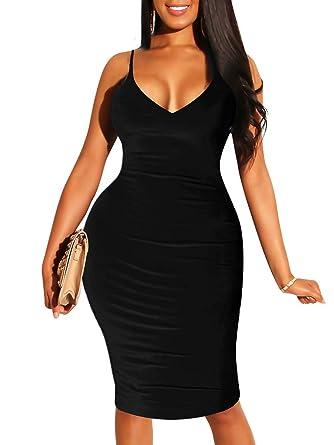 343a55f4e0 BEAGIMEG Women s Sexy Velvet Bodycon Spaghetti Strap Backless Party Dress  Black