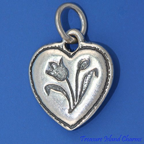 Heart with Tulip Flower .925 Solid Sterling Silver Charm Pendant New Ideal Gifts, Pendant, Charms, DIY Crafting, Gift Set from Heart by Wholesale ()