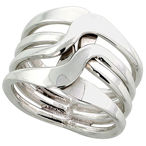 Sterling Silver Wire Wrap Ring for Women Flat Crossover Bypass Handmade 3/4 inch long, size 9