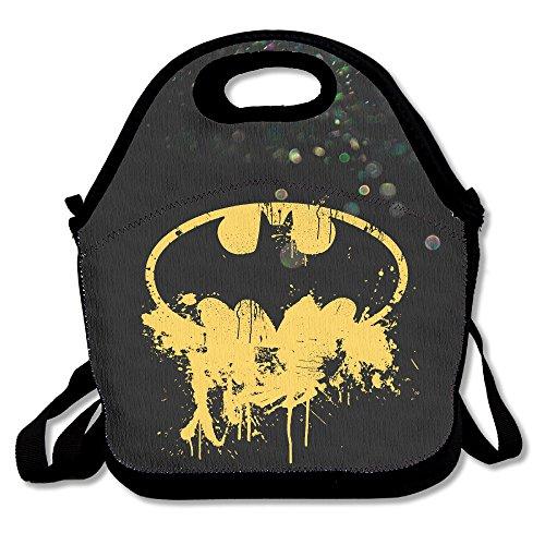 Adam West Batman Costume Arkham Knight (Bekey Batboy Splatter Logo Lunch Tote Bag Lunch Box For Women Adults Kids Girls For Travel School Picnic Grocery Bags)