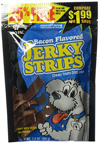 Flavored Biscuits Dog Bacon - PRO PAC Bacon Flavored Jerky Strips Dog Treats, 7.2-Ounce Bag