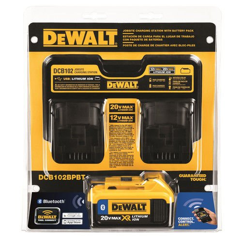 Dewalt DCB102BPBT 12V - 20V MAX Dual Port Charger with 4.0 Ah Bluetooth Battery Pack by DEWALT