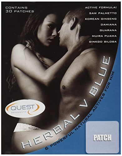 Quest Herbal V Blue Male Libido Patch Natural Remedy, 30 Count