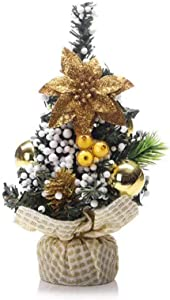 Mini Tabletop Desktop Artificial Christmas Tree Decor with Bows and Baubles Ornaments Decorations, 8 inch Tall (Gold)
