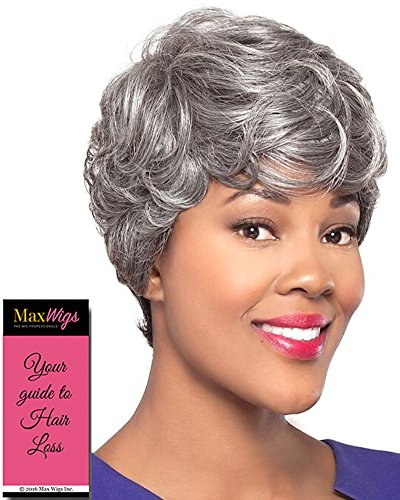 Roslyn Wig Color 2 - Foxy Silver Wigs Short Pixie Wavy Synthetic Feathered Bangs African American Women's Machine Wefted Lightweight Average Cap Bundle with MaxWigs Hairloss Booklet
