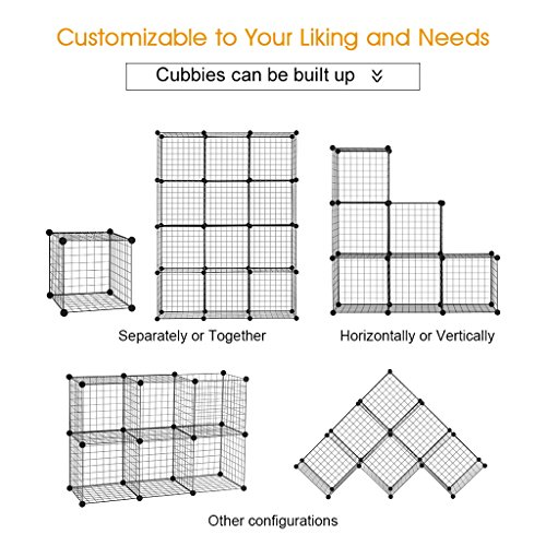 -[ LANGRIA 12-Cube DIY Wire Grid Bookcase, Multi-Use Modular Storage Shelving Rack, Open Organiser