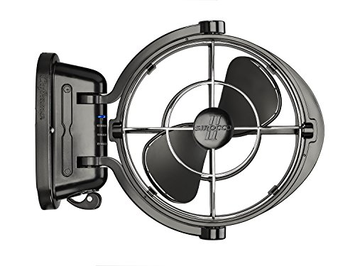 Caframo Sirocco II. Mounted Fan. 360 Airflow. Ultra Quiet, 12/24V Compatible. Black.