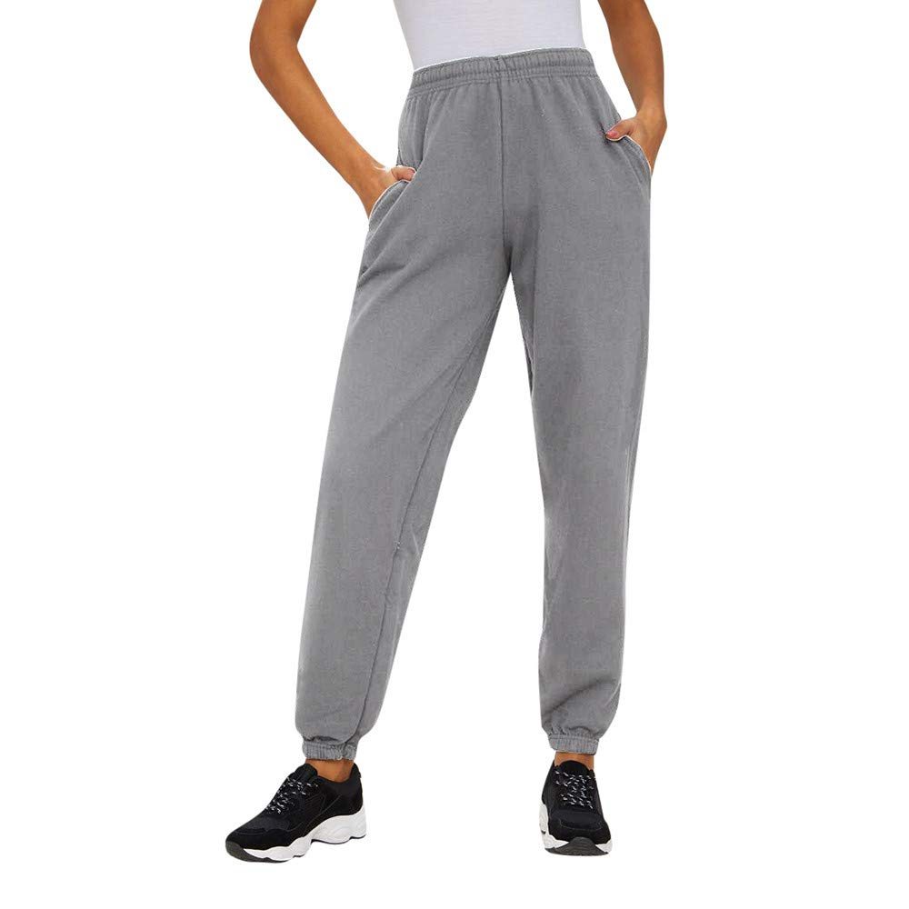 JESPER Women Casual Bow Running Jogger Trousers Ladies Loose Out Pocket Workout Pants