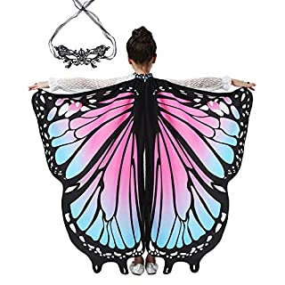 Butterfly Wings Halloween Costumes for Girls Toddlers, Fairy Wings with Lace Mask Pink