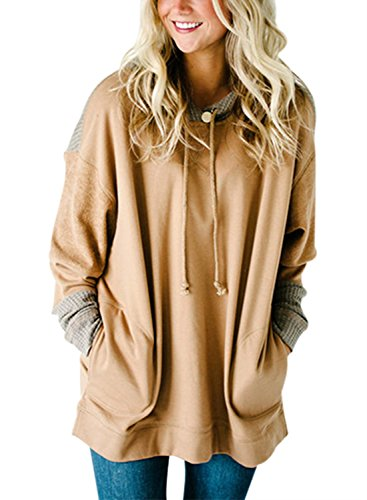 Knit Hooded Pullover - HOTAPEI Hooded Sweatshirt Oversized Fit Tunic Long Sleeve T Shirt Pockets Knit Colorblock Top Blouses Pullover Hoodie Women Khaki Medium