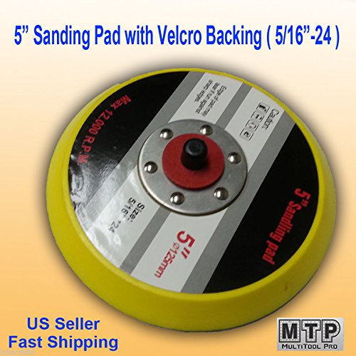 MTP Pack of 2 5'' Hook and Loop Face Sanding Pad 5''x 5/16'' 24 TPI Thread Da Sander Grinder Polishing