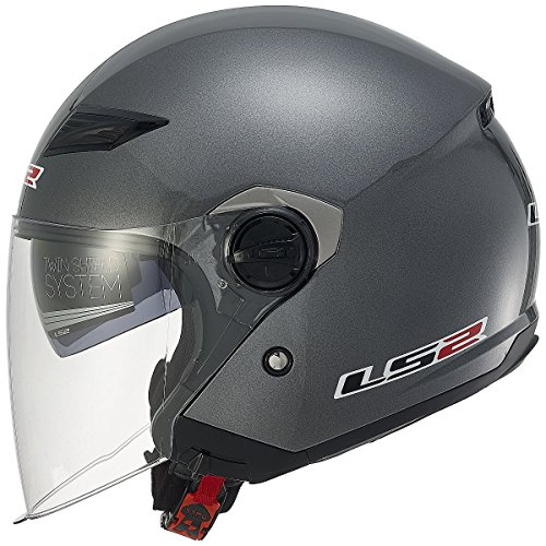 - LS2 Helmets 569-3033 Track Solid Open Face Motorcycle Helmet with Sunshield (Gunmetal, Medium)