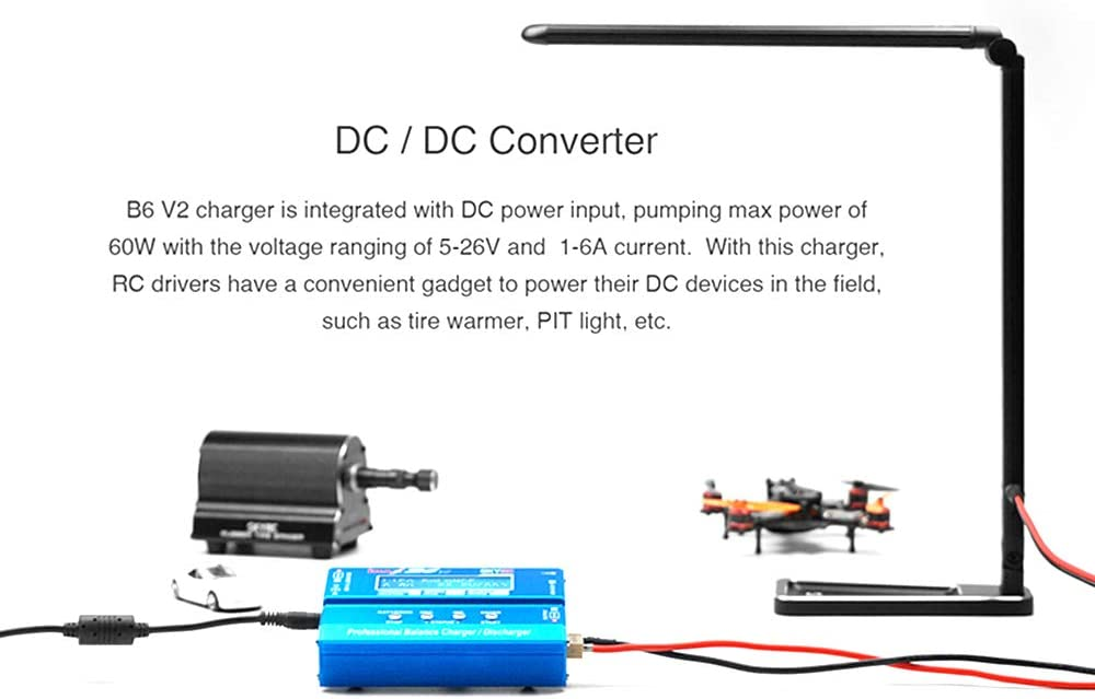 Entladeger/ät f/ür LiPo Lilon Life LiHV NiCd NiMh Pb Kompatibel mit DJI Mavic Inspire Intelligent Battery Tenlacum SKYRC iMAX B6 V2 60W 6A Multifunktions-Balance-Ladeger/ät