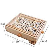 NERLMIAY 36 Steps Hansen Wood Labyrinth Steel Ball Track Maze Board Game Wooden Educational Toy for Kids Children