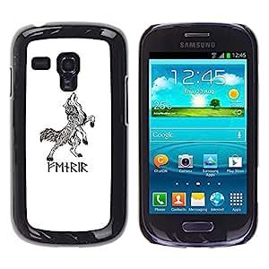 Caucho caso de Shell duro de la cubierta de accesorios de protección BY RAYDREAMMM - Samsung Galaxy S3 MINI NOT REGULAR! I8190 I8190N - Wolf White Black Ink Tattoo
