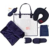 Travel Pillow and Blanket Set - Memory Foam Neck Pillow with Washable Velour Cover & Blanket, Contoured Eye Mask, Foam Ear Plugs, Foldable Slippers. Inside a Clear Carrying Bag. Dark Blue.
