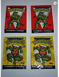 Teenage Mutant Ninja Turtles 1989 Topps Cello Pack Lot (4) Unopened Packs of Trading Cards Tmnt