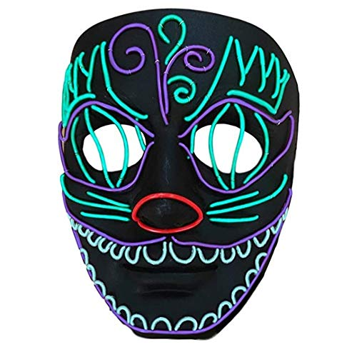 TECHLINK Light up Purge Mask Glowing Masks Horror Party Mask LED Cold Light Mask Fancy Dancers Mask Creative Style Street Dance Hand-Painted Masquerade -