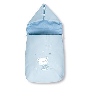 Pirulos 37013013 - Saco recién nacido, diseño osito star, algodón, 37 x 75 x 5 cm, color blanco y azul: Amazon.es: Bebé
