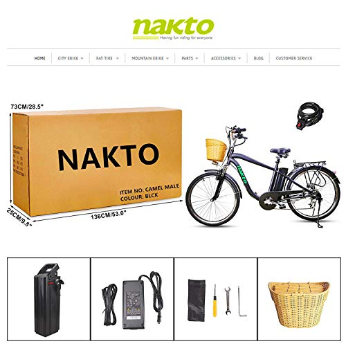 NAKTO 26 City Electric Bicycle and Assisted Bicycle for Men with Removable 36V 10A Large Capacity Lithium Battery and Charger(Black) (26 Spark-MBlack)