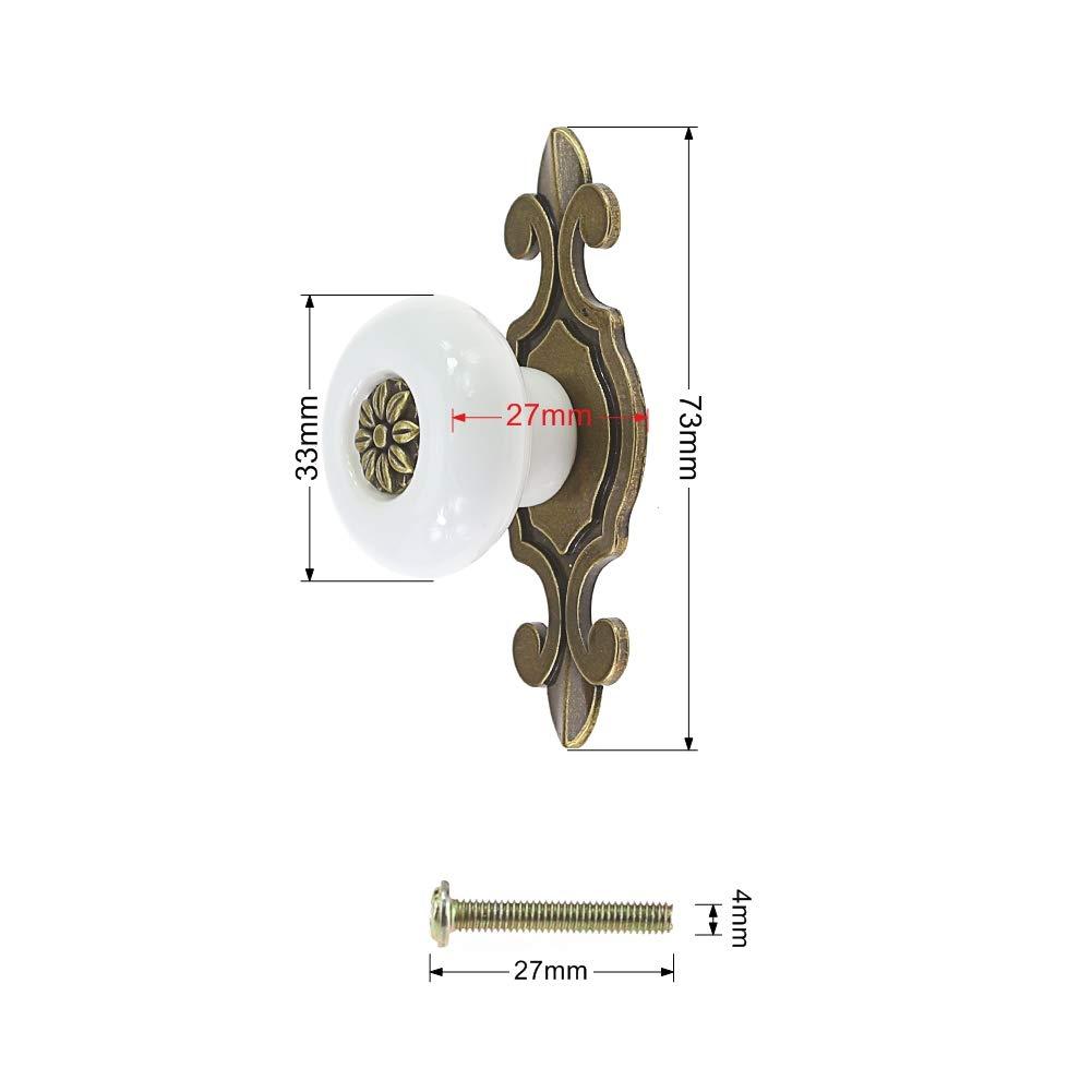 Log-Cabin Paquete de 6 perillas de cer/ámica vintage tiradores manijas para gabinete caj/ón aparador armario cocina blanco