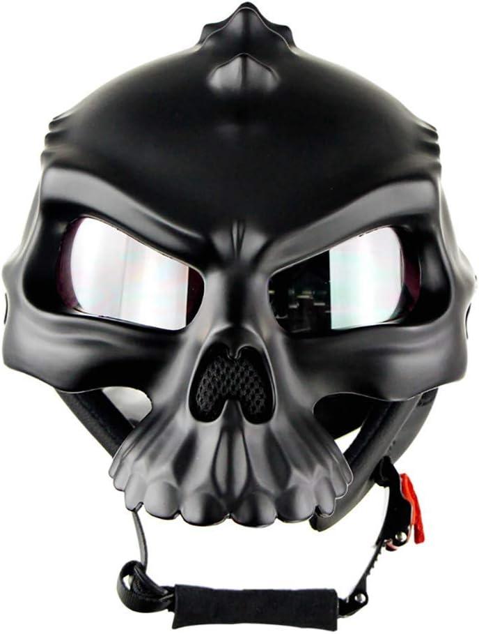 Cycling fox Adult motorcycle half helmet dirt bike Helmet Professional Dual Use Breathable Harley Half Face Skull Shape Helmets DOT certification,M