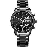 CADISEN Mens Luxury Sport Round Dial Quartz Analog Waterproof Wrist Watch with Stain Steel Band