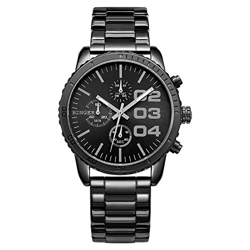 Gentlemans Chronograph Watch Black Dial (CADISEN Mens Luxury Sport Round Dial Quartz Analog Waterproof Wrist Watch with Stain Steel Band)