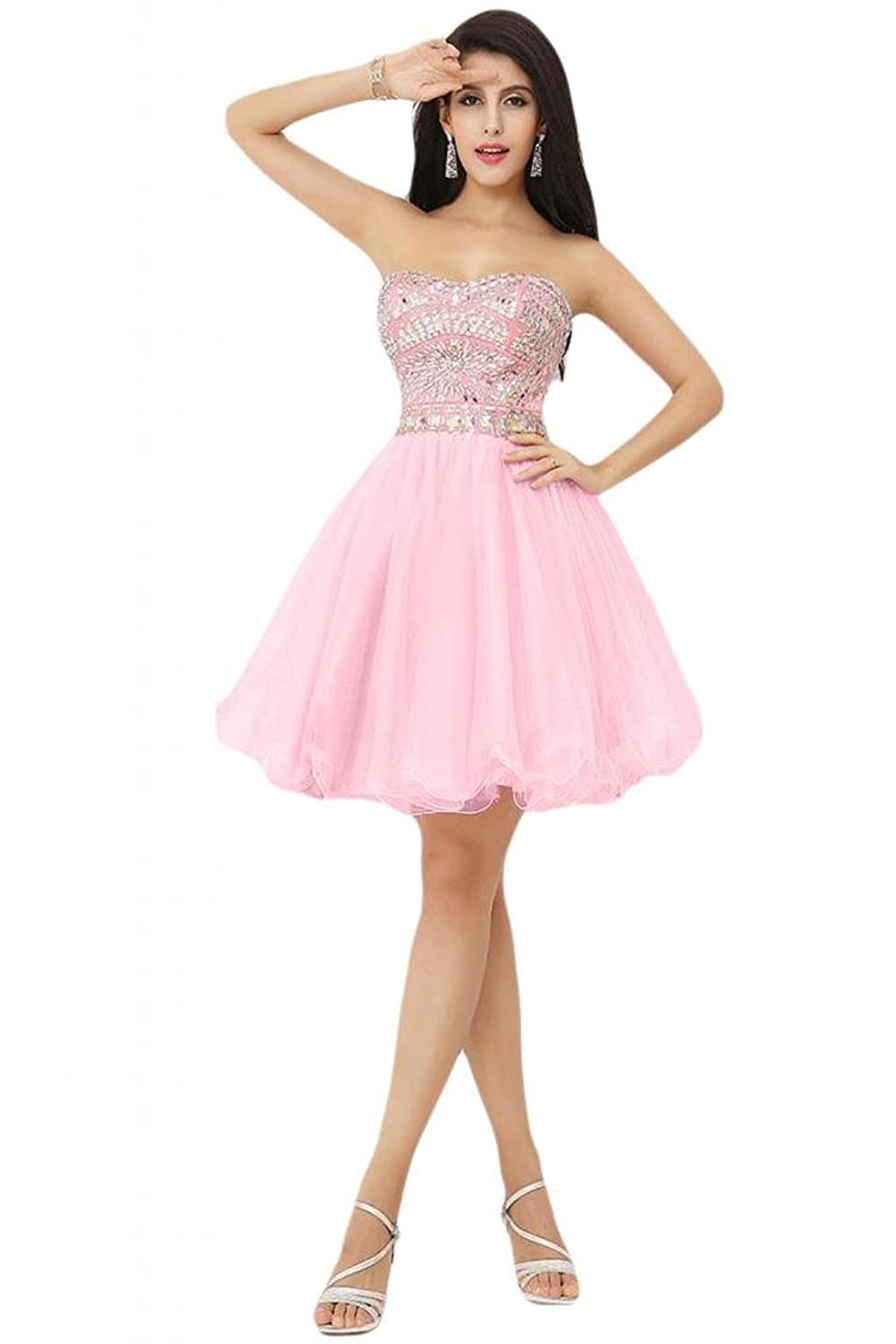 Sunvary 2014 New Pink Cocktail Homecoming Dresses Short Ball Gown Strapless