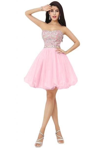 Sunvary 2014 nuevo rosa cóctel Homecoming vestidos corto vestidos de novia sin tirantes