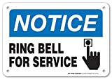 out of service signs - Notice Ring Bell For Service Sign - Perfect for Offices - 10