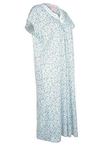 EZI Women's Floral Cap Sleeve V-Neck Cotton Nightgown ,Blue/GreenFlrl,1X