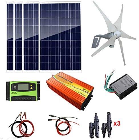 AUECOOR 800W Solar-Windset, 4 x 100 W polykristallines Solarpanel + 400 W Windturbine, Solarregler, Windregler, 1500 W Inverter (Peak 3000 W) + Zubehör