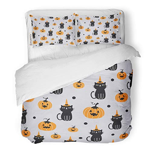 Tarolo Bedding Duvet Cover Set Orange Pattern for Halloween Cat and Pumpkin Candy Corn Animal Autumn Black 3 Piece Twin 68