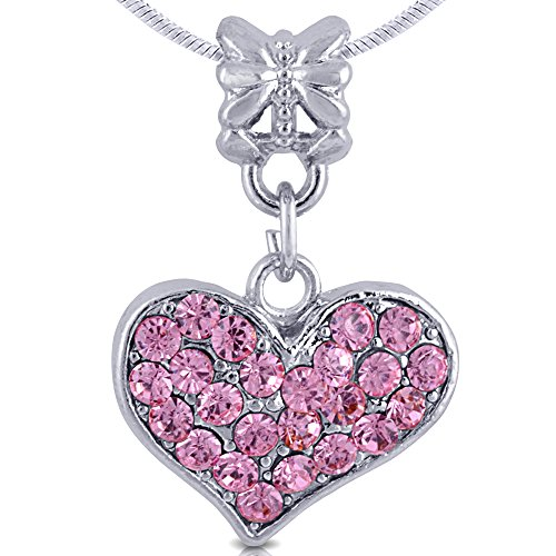 SmitCo LLC Little Girl Necklace, Silver Tone Heart Pendant Necklace with Pink Rhinestones